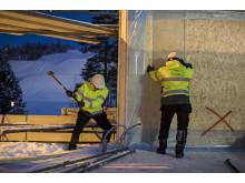 """Montage av Villa Vinga från A-hus och Deromegruppen i Skellefteå för framtidsprojektet """"Zero Sun Project"""""""