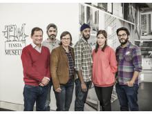 Tensta textpris jury: Björn Linnell, Rouzbeh Djalaie, Lena Andersson, Meron Mangasha, Emily Fahlén och Tal Lewinsky