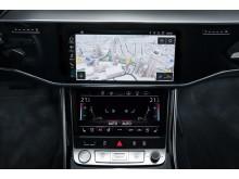 Navigationskort med ny grafik og detaljerede 3D bymodeller fra HERE Technologies i Audi A8