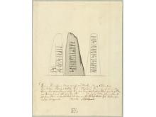 Ydby-runestenen tegnet i 1767 af tegneren Søren Abildgaard