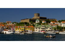 View of houses and boats at Marstrand island with