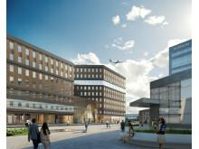 Den terminalnära byggnaden SkyCity Office One erbjuder flexibla mötesplatser vid Stockholm Arlanda Airport. Foto: Sandellsandberg