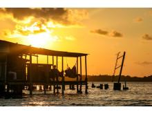Solnedgang ved San Blas-øyene i Panama