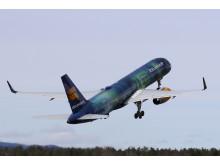 Hekla Aurora på vei hjem til Reykjavik fra Oslo Lufthavn.