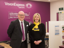 Charity ambassador helps Vision Express celebrate opening of new optical store at Tesco in Newry