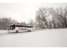 Swebus buss i vintermiljö