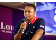 Viddal Riley, SportsAid athlete and Olympic hopeful for boxing at Rio 2016, at SportsAid's Sports Quiz 2015 at Lord's Cricket Ground