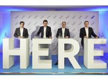 Sean Fernbeck, President HERE; Klaus Fröhlich, BMW AG; Rupert Stadler, AUDI AG; Thomas Weber, Daimler AG