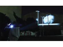 Stadstriennalen- kopfkino, liveprojektor och kamera i ett Hammarkullen