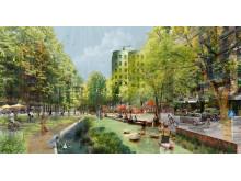 Jörgen Kocksgatan omvandlas till ett grönt stråk med plats för sport, lek och avkoppling.