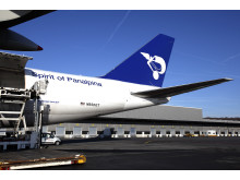Panalpina's wet-leased Boeing 747-8 Freighter at the Luxembourg hub