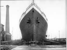 Olympic Bow view in Thompson dock 1913