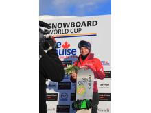 Helene Olafsen tredjeplass. FIS WC. Lake Louise. Foto: Snowboardforbundet
