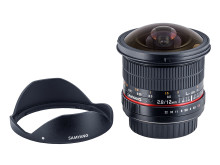 Samyang 12mm F/2,8 ED AS NCS Fish-eye, med solblender
