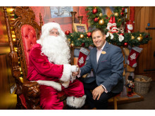 Center Parcs Longford Forest's General Manager, Daragh Feighery, welcomes Santa Claus to the Winter Wonderland