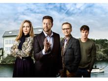 Eva Röse, Johan Petersson, Johan Ulveson och Adam Pålsson i Helt perfekt som får premiär på Kanal 5 den 25 februari. Foto: Magnus Selander/Kanal 5
