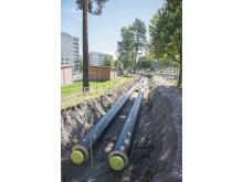 Sandviken Energi tryggar framtida fjärrvärmeleveranser genom att lägga ner en ny fjärrvärmeledning längs Sveavägen.
