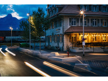 Outside at Spedition Hotel, Thun, Switzerland, hotel design by Stylt Trampoli.JPG