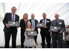 From left to right: Phil Wilson, MP for Sedgefield, Julie Finley (Finley Structures), Darren Cumner (Hitachi Rail Europe), Andrew Constantine (Shepherd Construction), Keith Jordan (Hitachi Rail Europe)