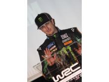 Ken Block närvarar vid FIAs lansering av 2010 WRC i Paris den 2 Feb