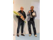 Magnus Jernbom och Konrad Löwhagen mottar priset som Årets Golvprofil
