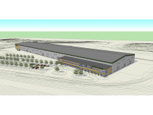Skiss över Deromes nya fabrik, Varberg