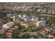 Flygfoto över Akademiska sjukhuset