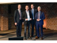Sanierungspreis 16 Steildach: Christian Harste/Dörken, Henryk Pinkert, Ulrich Nelskamp/Nelskamp, Johannes Messer/DDH DAS DACHDECKER-HANDWERK,