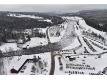 Vasaloppet 2017. Startgärdet och vägövergången från helikopter.