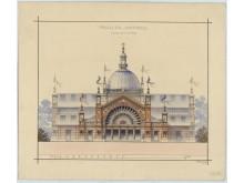 Ej genomfört förslag till industrihall på Stockholmsutställningen 1897
