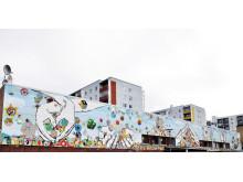 Muralmålning med Förorten i Centrum