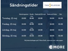 Sändningstider på C More inför The Players 2016