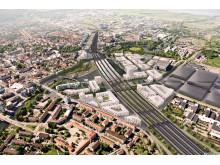 Linköpings nya station - flygperspektiv