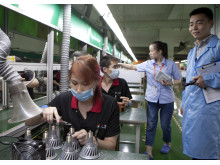 Inspection at an assembly line in Chinese factory