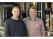 Projekt-teamet fra Attends er meget tilfredse med den logistiske løsning, samarbejdet med SSI Schäfer og det fremragende resultat. Johan Törnqvist, Logistikingeniør og Dag Sjökvist, Teknologichef ved Attends i Aneby (f.v.t.h)