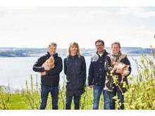 Fra venstre: Are Herrem (Hovelsrud gård), Brit Sjaastad (KIWI), Harald Bregner (KIWI) og Marianne Olssøn (Hovelsrud gård).