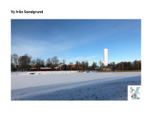 Bildmontage av vy över höghuset från Sandgrundsparken