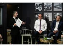 Ibrahim Baylan, näringsminister, Björn Hellman, vd Livsmedelsföretagen, Lars Appelqvist, vd Löfbergs