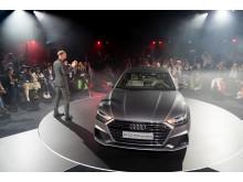 Marc Lichte præsenterer den nye Audi A7 Sportback ved verdenpremieren i Ingolstadt 19. oktober 2017