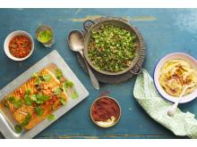 Halstrad lax med tabbouleh, het harissasalsa & solig hummus