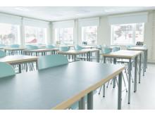 Klassrum som lätt möbleras om i olika sittningar