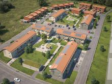 Översiktsillustration av det nya BoKlok-kvarteret med både rad-/par- & kedjehus samt lägenheter, på Telestadshöjden i Växjö.