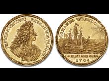 5 dukat 1704. Hammerslag: 460.000 kr.