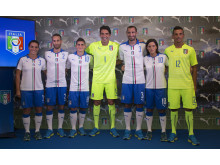 FIGC & PUMA Present the New Italy Away Kit. Pictured Left to Right:  Alia Guagni, Marco Ercolessi, Marco Verratti, Gianluigi Buffon, Giorgio Chiellini, Susanna Nicoletti & Alessio Battini