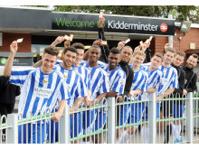 Worcester City FC players celebrate discount fares for season ticket holders