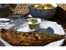 Varmrökt makrillfilé från Korshags, kryddad med dill