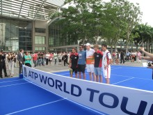 Glock, Tipsarevic,Hulkenberg, Pic and Nishikori at the ATP Promo event