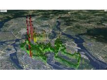 CO2-halten i olika delar av Stockholm under 2019 års upplaga av Stockholm marathon