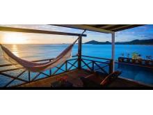 Fin utsikt från verandan på Cocos Hotell