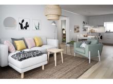 Illustration av interiör, vardagsrum, BoKlok-lägenhet 4 rok, 2019.